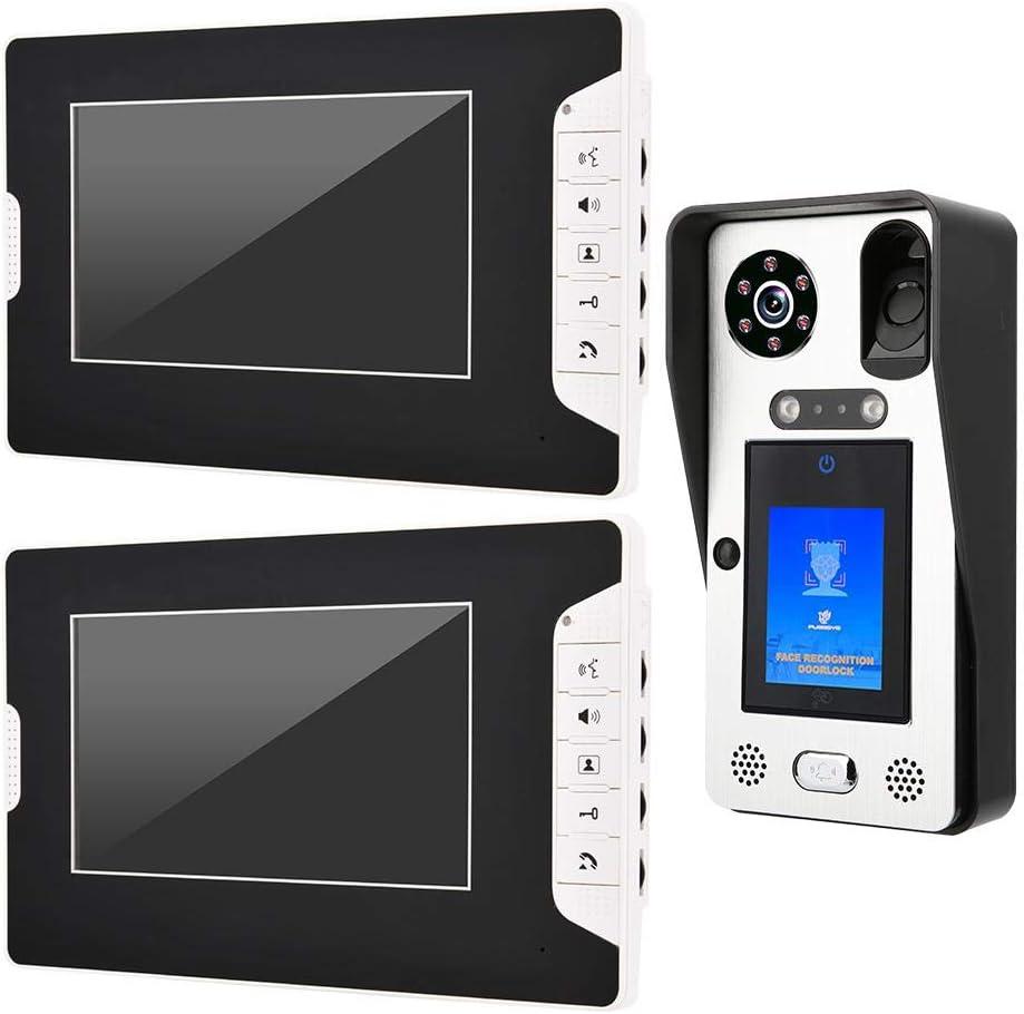 "7/"" Monitor Video Intercom DoorPhone 1000TVL Camera Fingerprint Electronic Lock"