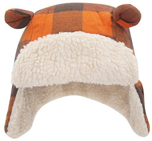 (Baby Toddler Kids Orange Plaid Trapper Hat Aviator Winter Warm Earflap Cap Sherpa Hat)