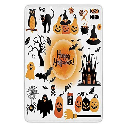 (K0k2t0 Bathroom Bath Rug Kitchen Floor Mat Carpet,Halloween Decorations,All Hallows Day Objects Haunted House Owl Trick Treat Candy,Orange Black,Flannel Microfiber Non-Slip Soft)