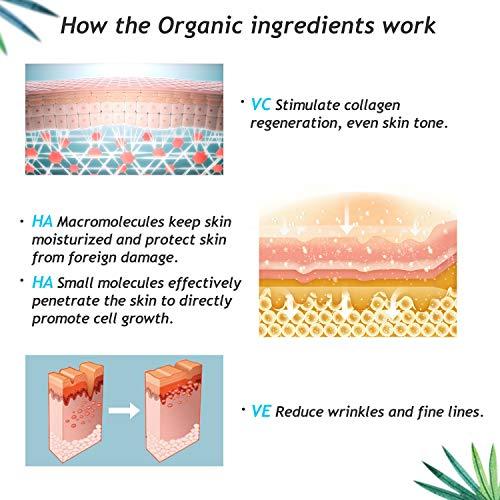 Belle Dairy Serum de Ácido Hialurónico 1oz - Crema Orgánica Hidratante Facial Antienvejecimiento con Vitamina C y Vitamina E para Piel Seca, Líneas ...