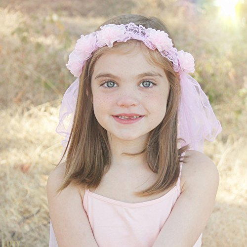 [Princess Flower Tiara with Veil For Girls – Pink – Hair Head Band Costume For Young Girl Dress] (Wild Flower Child Hippie Costume)