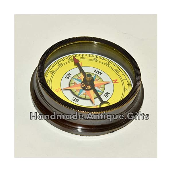Nautical World Antique Brass Compass Open FACE Gift for Men & Woman Steampunk Navigation 4