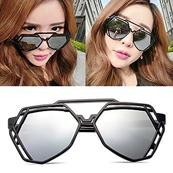 b724f907a5f7 BM new elegant personalized sunglasses, Ladies Sunglasses, male tide star  glasses, round face, Korean retro eyes,Black box white mercury (cloth): ...