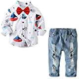 MINIKATA Baby Toddler Boys Clothes Formal Sets Wedding Suit 1-6 Years Old Kids Gentleman Stripe T-Shirt Plaid Pants Outfit (White / 120cm)