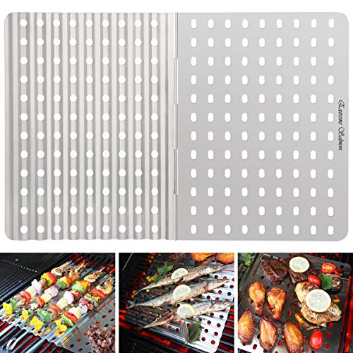 Extreme Salmon Grill Mat, BBQ Grill Mats Grilling Replacement Stainless Steel Grill Tray Grid Reusable Barbecue Grill Accessories for Grilling Meat Vegetables for Gas Charcoal Grill Oven Smoker ()