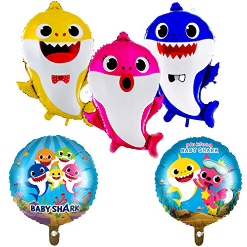 5 Piece Baby Shark Theme Birthday Party Supplies and Decorations Foil Helium Balloons for Kid Baby Shower Event Decor