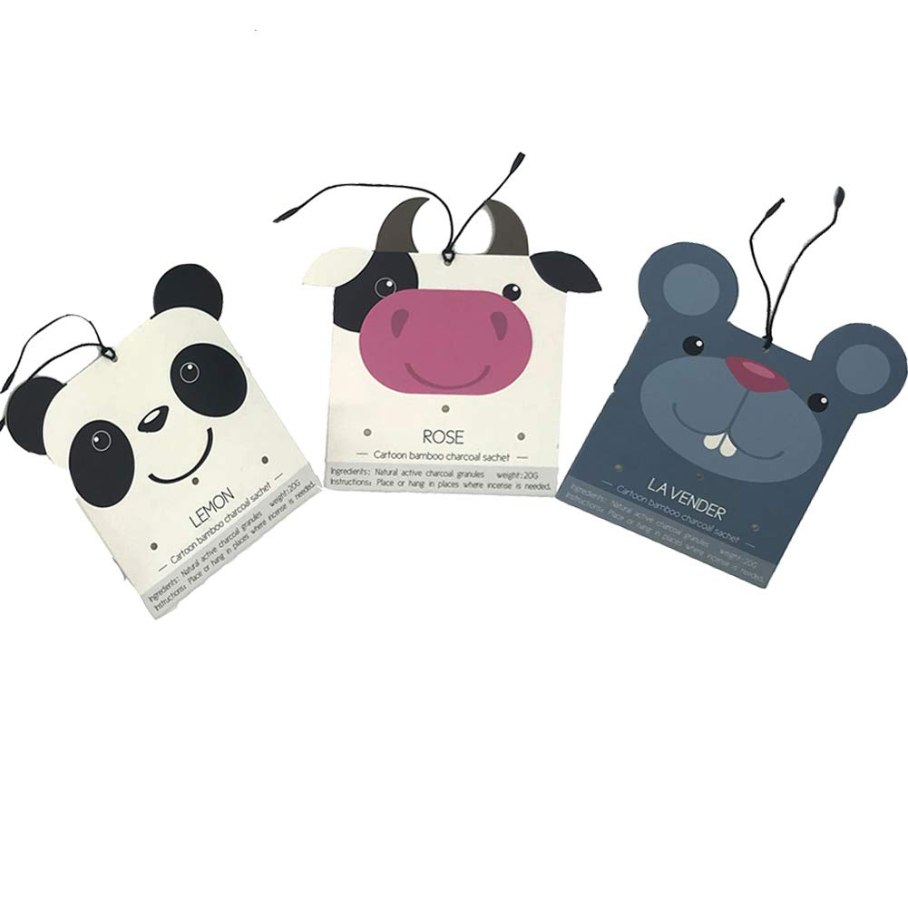 Scented Sachets Home Fragrance Air Freshener for Drawers and Closets fresh scents,Cars 3 Packs (Panda, Cow, MickeyMouse Sachets)