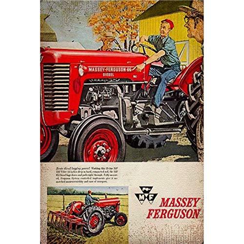 FlowerBeads Outdoor Bar Signs Metal Poster, Old Farm Tractor Plaque Sign, 8X12 Bar Pub Club Tavern Garage Decor