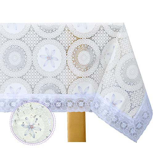 DITAO Waterproof Lace Tablecloth Vinyl Heavy Spill Proof Easy Care Table Cover for Rectangle Table
