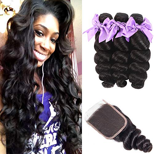 "Loose Wave 3 Bundles with Closure Human Hair Bundles 8A Brazilian Virgin Human Hair Loose Wave Bundles with 4"" 4"" Lace Closure Free Part 100% Unprocessed Human Hair Extensions(28 28 28+20)"