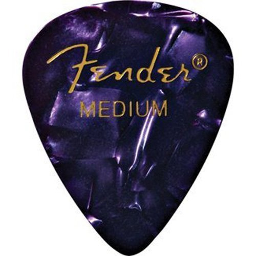 Fender 351 Shape Medium Classic Celluloid Picks, 12-Pack, Purple Moto for electric guitar, acoustic guitar, mandolin, and - Purple Pick Guitar