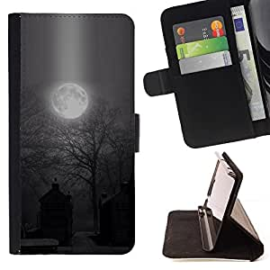 Momo Phone Case / Flip Funda de Cuero Case Cover - Luna fantasmagórica de Halloween del cementerio - Huawei Ascend P8 Lite (Not for Normal P8)