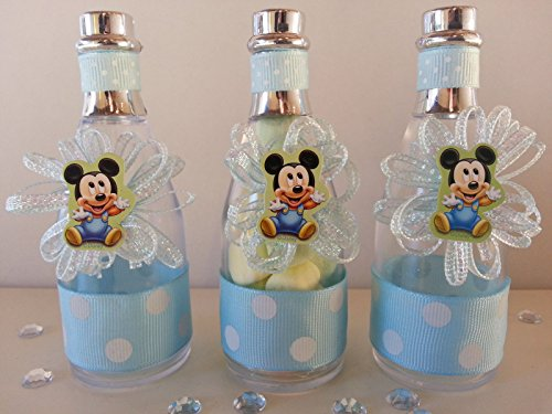 12 Mickey Mouse Fillable Champagne Bottles Baby Shower Boy Favors First Birthday -