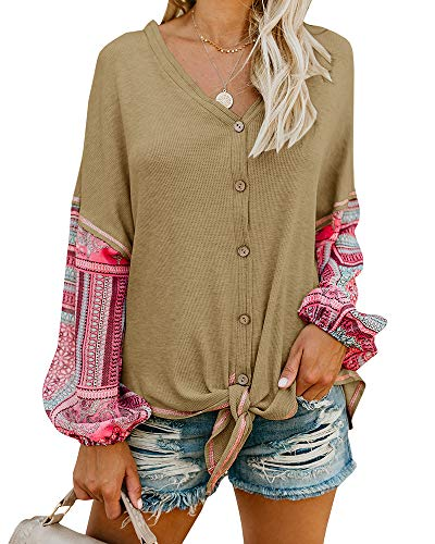 (Imily Bela Womens V Neck Tie Knot Front Henley Shirt Button Up Patchwork Cardigan Blouse Khaki)