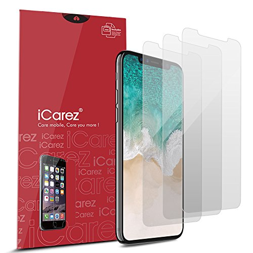 Iphone Anti Glare Screen Protector - iCarez [HD Anti Glare] Screen Protector for iPhone X [3 Pack Matte] Highest Quality No Bubble Easy Install with Lifetime Replacement Warranty - Retail Packaging