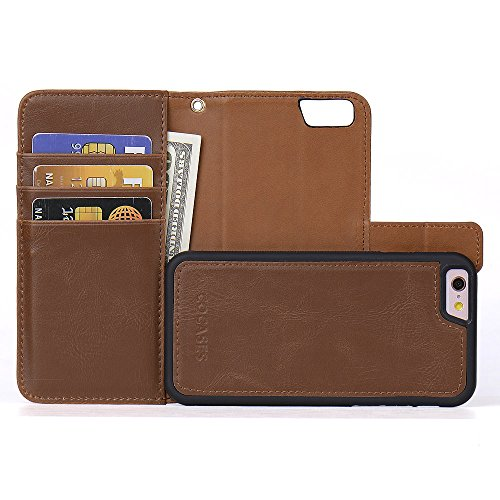 COCASES Wallet Case Compatible iPhone 6, iPhone 6s, [Detachable Folio] Premium PU Leather 2in1 Magnetic Flip Kickstand Cover Card Holder Wristlet 4.7''- ()
