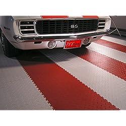 """IncStores Diamond Flex Garage and Shop Multi-Purpose Flooring Tiles 20.5""""x20.5"""" 8 Tile Pack Covers 23.35 sqft (Black)"""