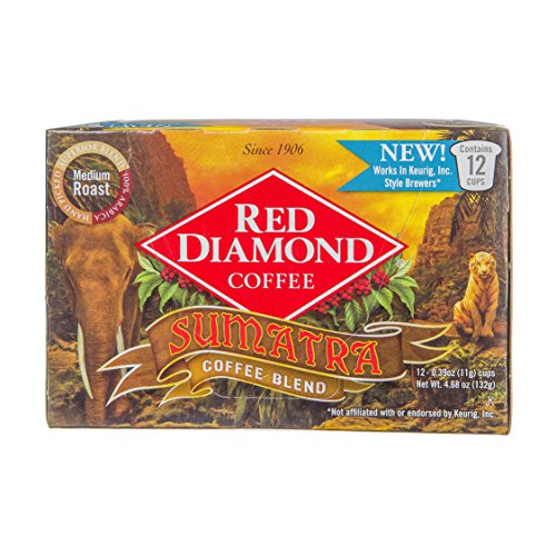 Red Diamond Sumatra Blend Single Serve K-Cup Coffee, 12 Count (Pack of 6) (72 Servings)