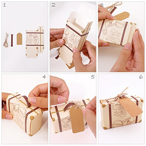 VGoodall Box 50pcs Mini Suitcase Favor Candy Vintage Kraft Paper with Tags and Burlap Twine for Wedding/Bridal Party Decoration by VGoodall (Image #5)