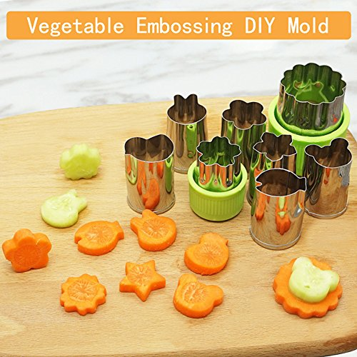 Vegetable Cutters Shapes Set 8 Pcs - Stainless Steel Cookie Cutters Fruit Mold Cheese Presses Stamps for Kids,Cute for Fun Food