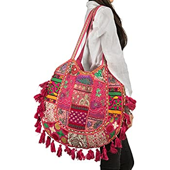 94ef2cf729 Pink Summer Beach Large Shoulder Bag Tassel Cute Picnic Fashion Hippie Boho  Tote Handbag Ethnic Tribal