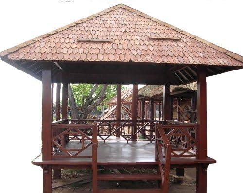 GURU-SHOP Novaservice Coco Madera Cenador con barandilla + Escaleras/Jardín & Outdoor Deko/Variante: Tamaño U Techo una Cobertura: 2,5 x 2,5 con Paja de arroz Techo: Amazon.es: Jardín