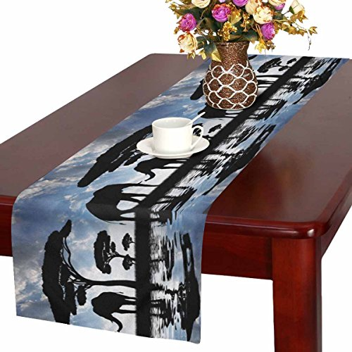 InterestPrint Silhouette Elephants over Sunset on Savannah Table Runner Cotton Linen Cloth Placemat for Office Kitchen Dining Wedding Party Banquet 16 x 72 Inches