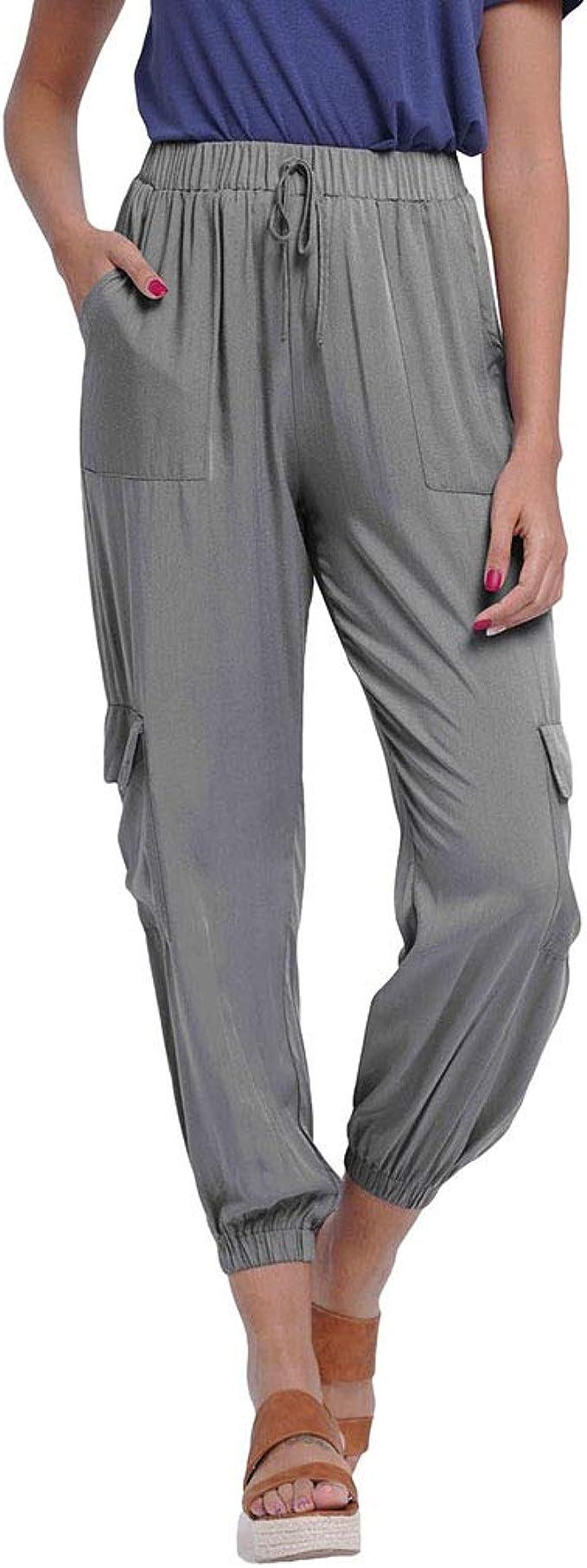 Yying Pantalones Chándal Mujer Pantalones Cargo Cintura Alta ...