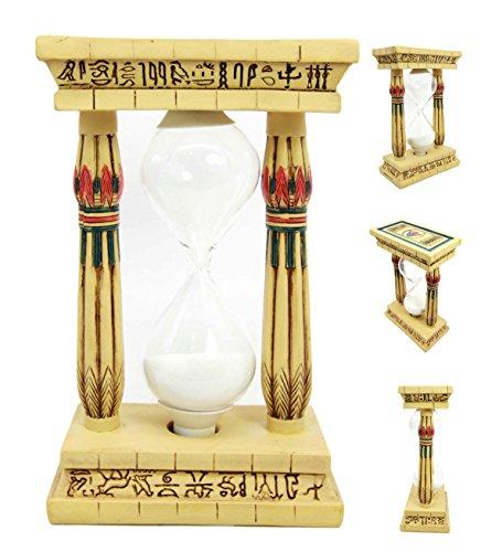 Atlantic Collectibles Egyptian Memphis Palace Pillar Hieroglyphs Column Sandtimer Desktop Figurine