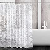 Mooxury Waterproof Shower Curtain Liner, White Flower EVA Shower Curtains with Hooks for Bathroom, Mildew Resistant, Antibacterial, Non Toxic, No Odor, 72x72 Inch