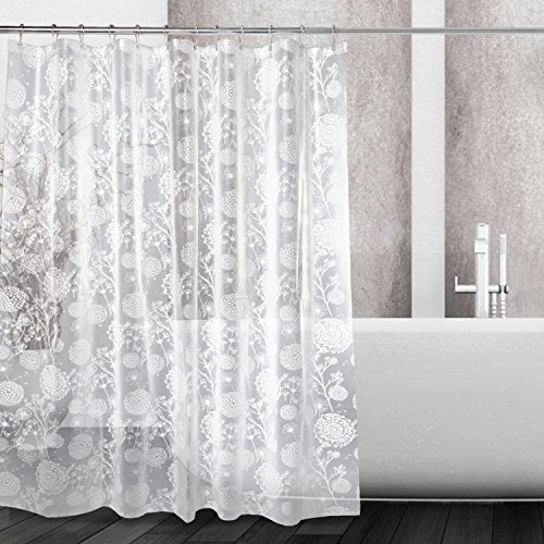 Mooxury Waterproof Shower Curtain Liner, White Flower EVA Shower Curtains with Hooks for Bathroom, Mildew Resistant, Antibacterial, Non