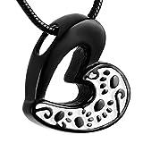 CJJ8233 Dog/Cat Paw Print&Hollow Heart Cremation Urn Ashes Memorial Pendant for Pet (Black)