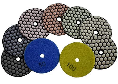 Konfor 3 inch Diamond Dry/Wet Polishing Pad 7 Pcs Sanding Grinding Disc Mix 50 to 3000 for Stone Granite Concrete Marble ()