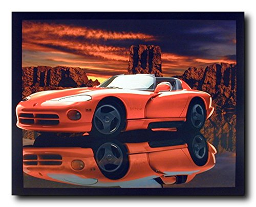 Red Dodge Viper Lithograph Muscle Car Wall Decor Art Print Poster (16x20) ()