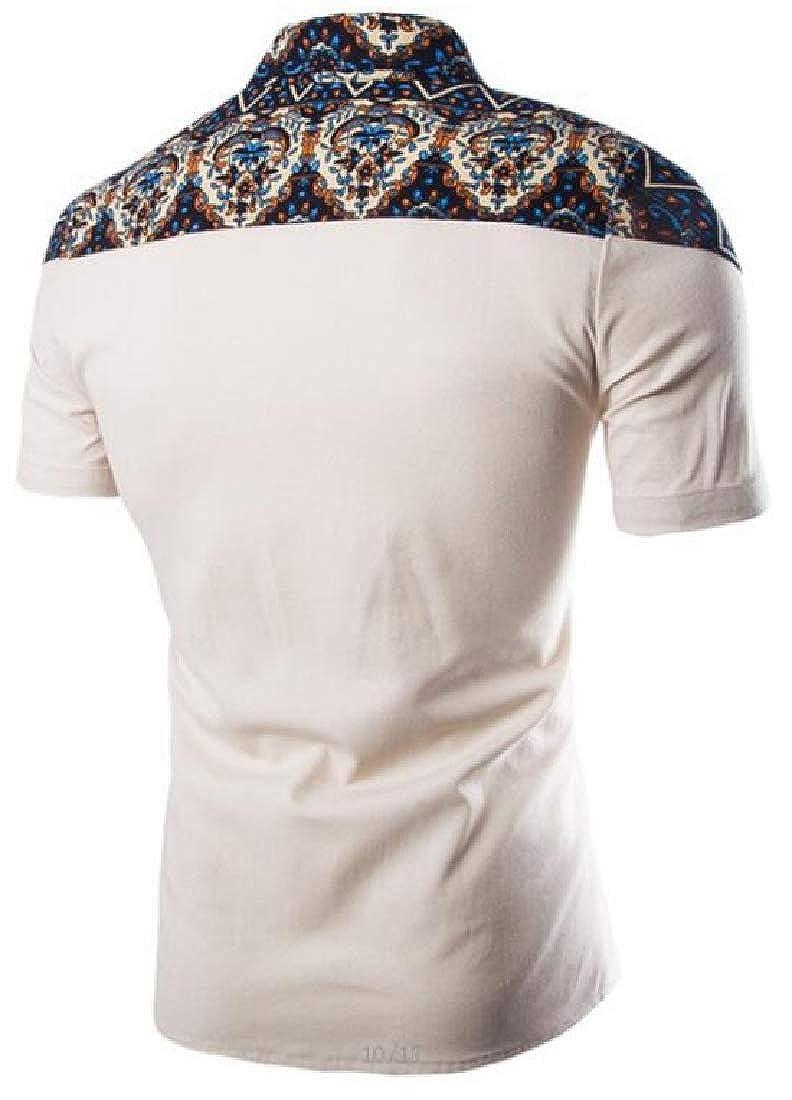 WSPLYSPJY Men Summer Skinny Spring Short Sleeve Spring Ethnic Style Button Down Shirt