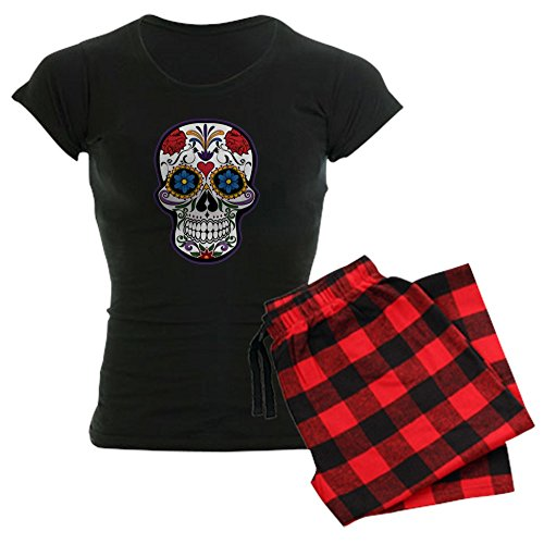 Truly Teague Women's Dark Pajamas Floral Sugar Skull Day of the Dead - Red Plaid, 2X for $<!--$49.97-->