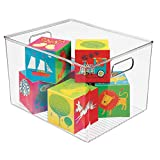 mDesign Deep Plastic Home Storage Organizer Bin for Cube Furniture Shelving in Office, Entryway, Closet, Cabinet, Bedroom, Laundry Room, Nursery, Kids Toy Room - 12' x 10' x 8' - Clear