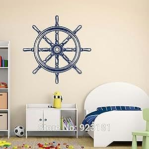 2016 new nautical ship wheel sea ocean nursery for Dining room wall art amazon