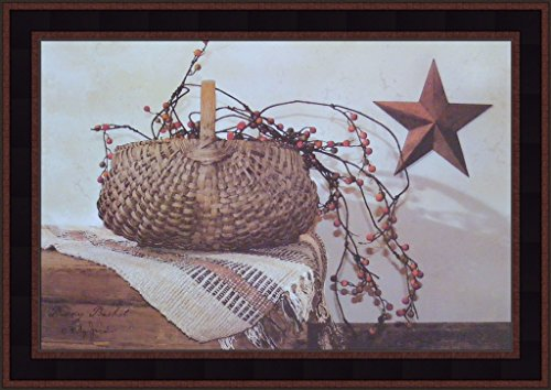 (Berry Basket by Billy Jacobs 15x21 Country Americana Rusty Star Primitive Folk Art Print Framed Picture)