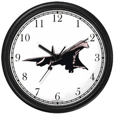 Concorde - Super Sonic Transport Wall Clock by WatchBuddy Timepieces (Black Frame)