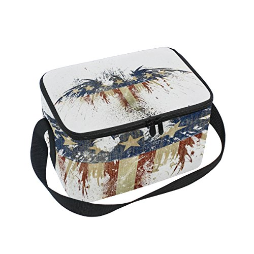 - Saobao Reusable Insulated Lunch Box Tote Bag American Eagle Handbag with Shoulder Strap for School work Office Travel Outdoor
