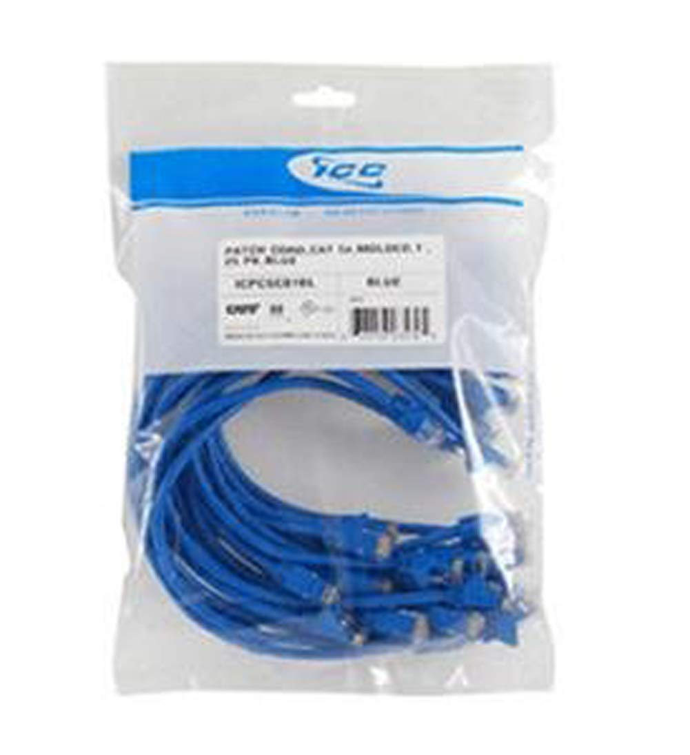 25 PK PATCH CORD,CAT 6,MOLDED,3ft BLUE