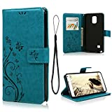 Galaxy Note 4 Case, MOLLYCOOCLE Natural Luxury Butterfly Stand Wallet Purse Blue PU Leather Credit Card ID Holders Design Flip Folio TPU Soft Bumper Ultra Slim Fit Cover for Samsung Galaxy Note 4