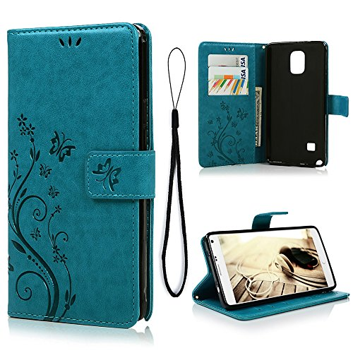 Galaxy Note 4 Case, MOLLYCOOCLE Natural Luxury Butterfly Stand Wallet Purse Blue PU Leather Credit Card ID Holders Design Flip Folio TPU Soft Bumper Ultra Slim Fit Cover for Samsung Galaxy Note 4 (Samsung Galaxy Note 4 Wallet Case)