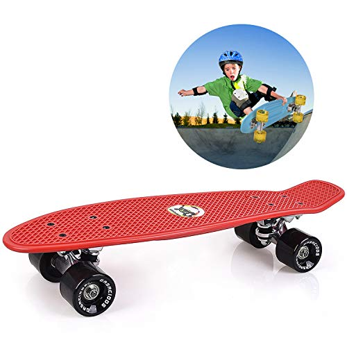 GASACIODS 22 Inch Mini Cruiser Skateboard, Complete Plastic Retro Board with Bendable Deck and Smooth PU Casters/Speed Bearing for Kids Youths Beginners, 220 Ibs(RED)
