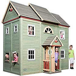 Backyard Discovery Victorian Mansion 2-Story All Cedar Wooden Playhouse, Green