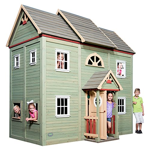 Outdoor Wood Playhouses (Backyard Discovery Victorian Mansion 2-Story All Cedar Wooden Playhouse, Green)