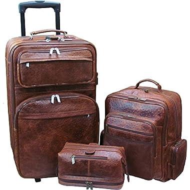Amerileather Ostrich-Print Leather Three-Piece Traveler Set - Brown Ostrich