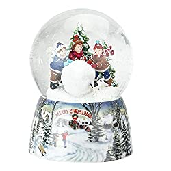 "5.5"" Red, Green and White Kids Rolling Snowball Merry Christmas Musical Snow Globe"