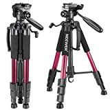 Neewer Portable 56 inches/142 centimeters Aluminum Camera Tripod with 3-Way Swivel Pan Head,Carrying Bag for Canon Nikon Sony DSLR Camera,DV Video Camcorder Load up to 8.8 pounds/4 kilograms(Red)